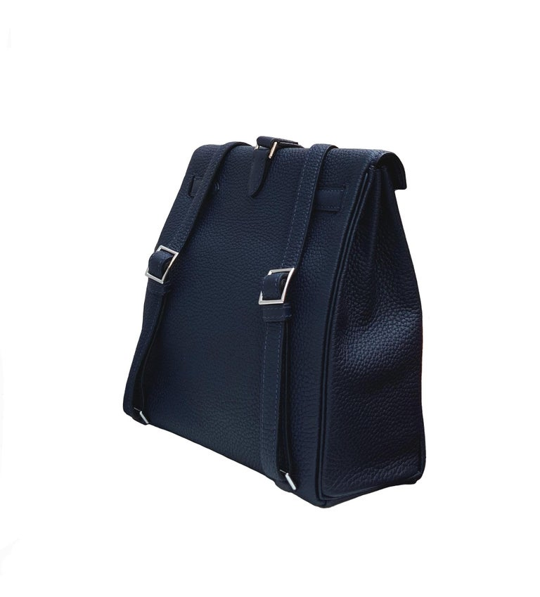 Hermès Bleu Nuit Clémence Leather Kelly Ado II Backpack  In Excellent Condition For Sale In Geneva, CH