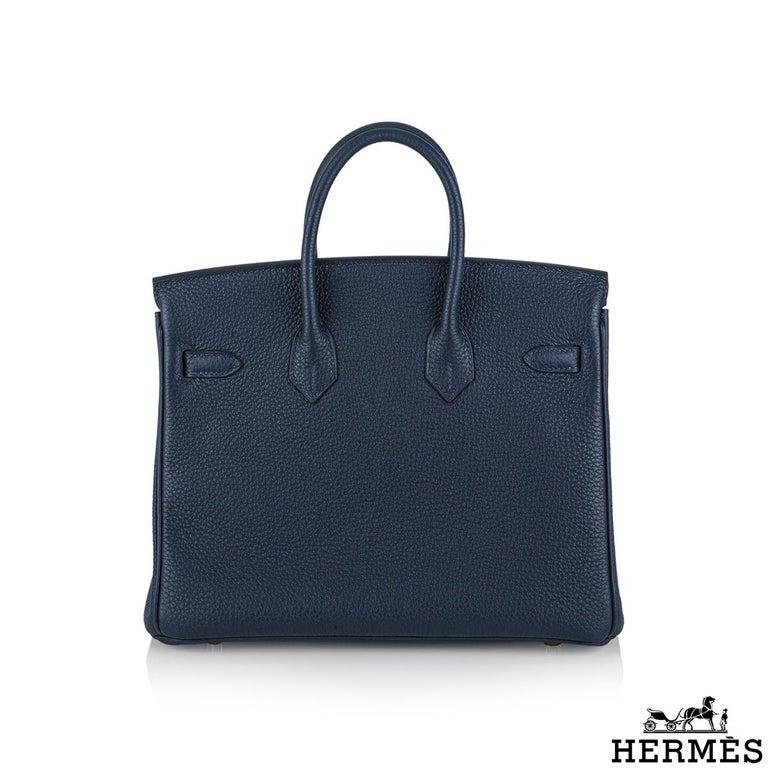 Black Hermès Bleu Nuit Togo Birkin 25cm Gold Hardware For Sale
