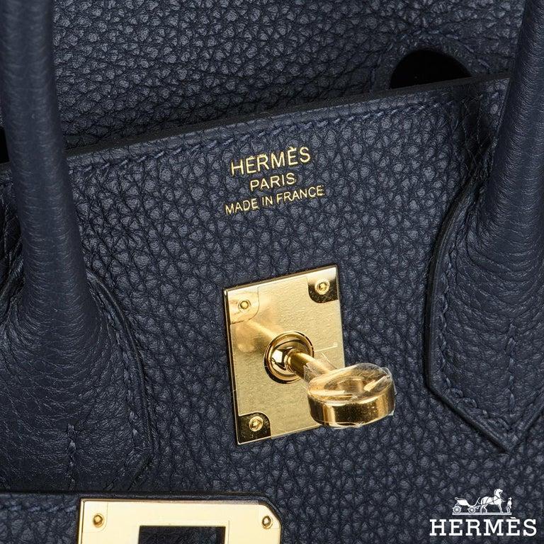 Women's Hermès Bleu Nuit Togo Birkin 25cm Gold Hardware For Sale