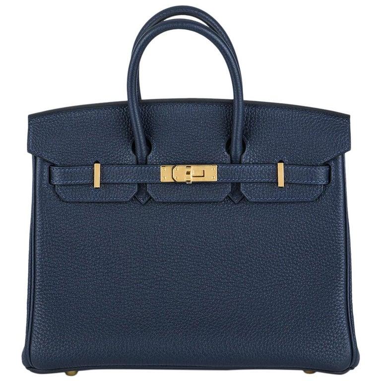 Hermès Bleu Nuit Togo Birkin 25cm Gold Hardware For Sale