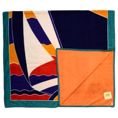 "Hermes Bleu Outremer ""Tapis Nomade la Regate"" Cotton Beach Towel rt. $510"
