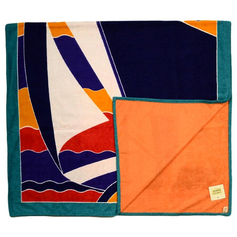 "Hermes Bleu Outremer ""Tapis Nomade la Regate"" Cotton Beach Towel rt. $510 For Sale"