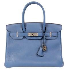 Hermès Bleu Saint Cyr Clemence 30 cm Birkin Bag