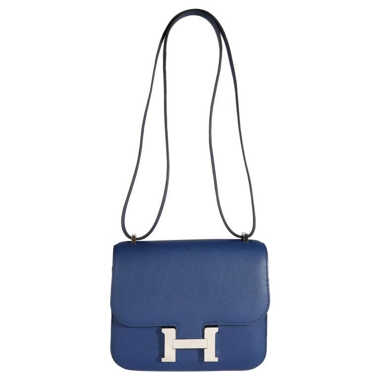 Hermès Bleu Saphir Swift Constance 18 PHW For Sale