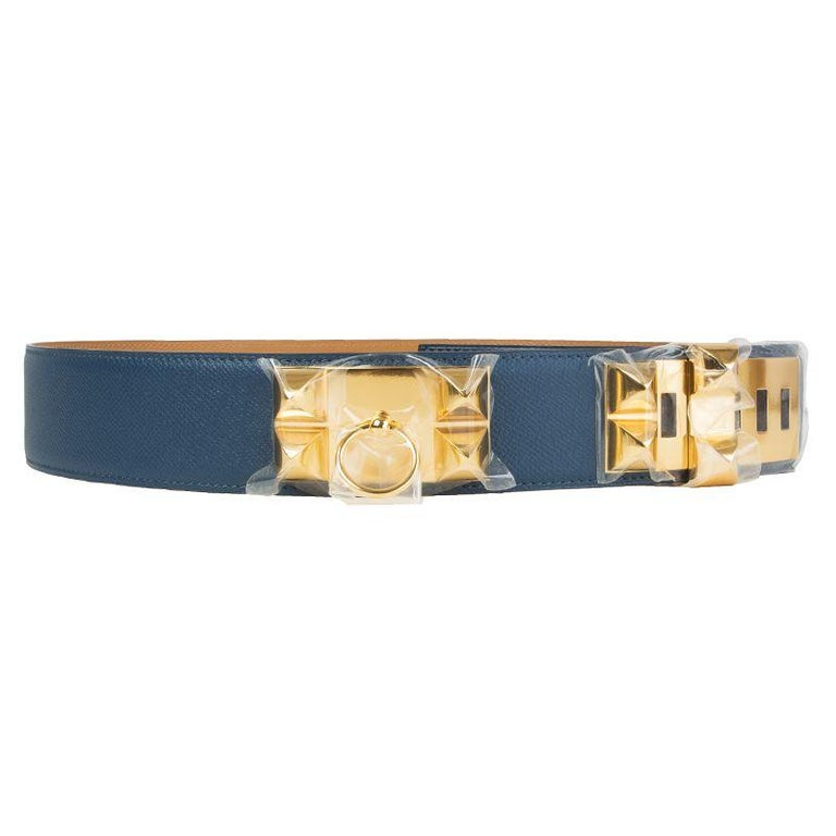 Hermes 'Collier de Chien' belt in Bleu Thalassa (blue) Veau Epsom leather. Brand new.   Size 95 Width 5cm (2in) Fits 93cm (36.3in) to 99cm (38.6in) Buckle Size Height 4cm (1.6in) Buckle Size Width 10cm (3.9in) Hardware Gold-Plated
