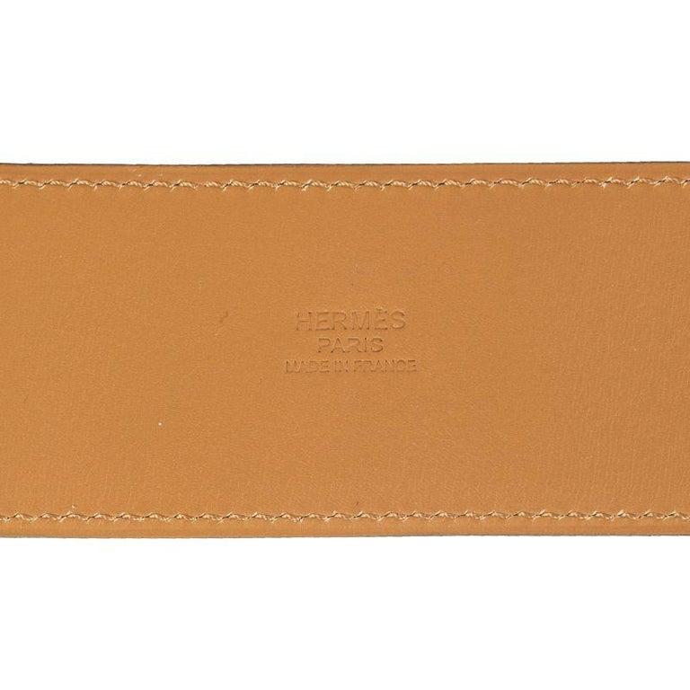 HERMES Bleu Thalassa blue Epsom leather & Gold COLLIER DE CHIEN Belt 95 In New Condition For Sale In Zürich, CH