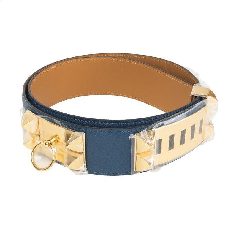 HERMES Bleu Thalassa blue Epsom leather & Gold COLLIER DE CHIEN Belt 95 For Sale