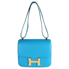 Hermès Bleu Zanzibar Evercolor Constance 24 GHW