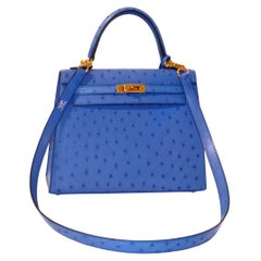 Hermès Bleuet Ostrich 28 cm Kelly