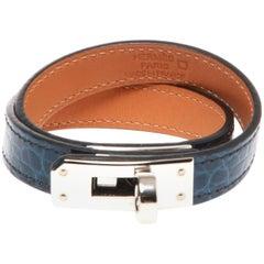 Hermes Blue Agate Alligator Kelly Double Tour Bracelet