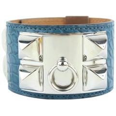 Hermès Blue Alligator Collier De Chien Cdc Cuff 20hz1009 Bracelet