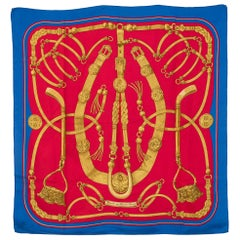 Hermes Blue and Red Silk Scarf Gaucho