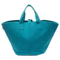 Hermes Blue Atoll Canvas Beach Tote
