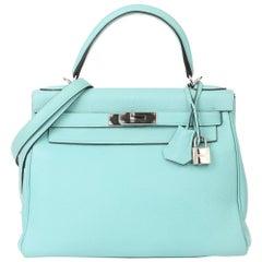 Hermès Blue Atoll Togo Leather Kelly 28cm Retourne