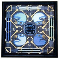 "Hermes Blue/Black ""Tatersale"" Equestrian Horse Print Silk/Cashmere 140cm Shawl"