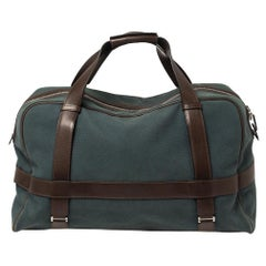 Hermes Blue/Brown Canvas and Leather Medium Arion Bag