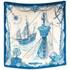 Hermes Blue Caravelle by Ledoux Silk Scarf
