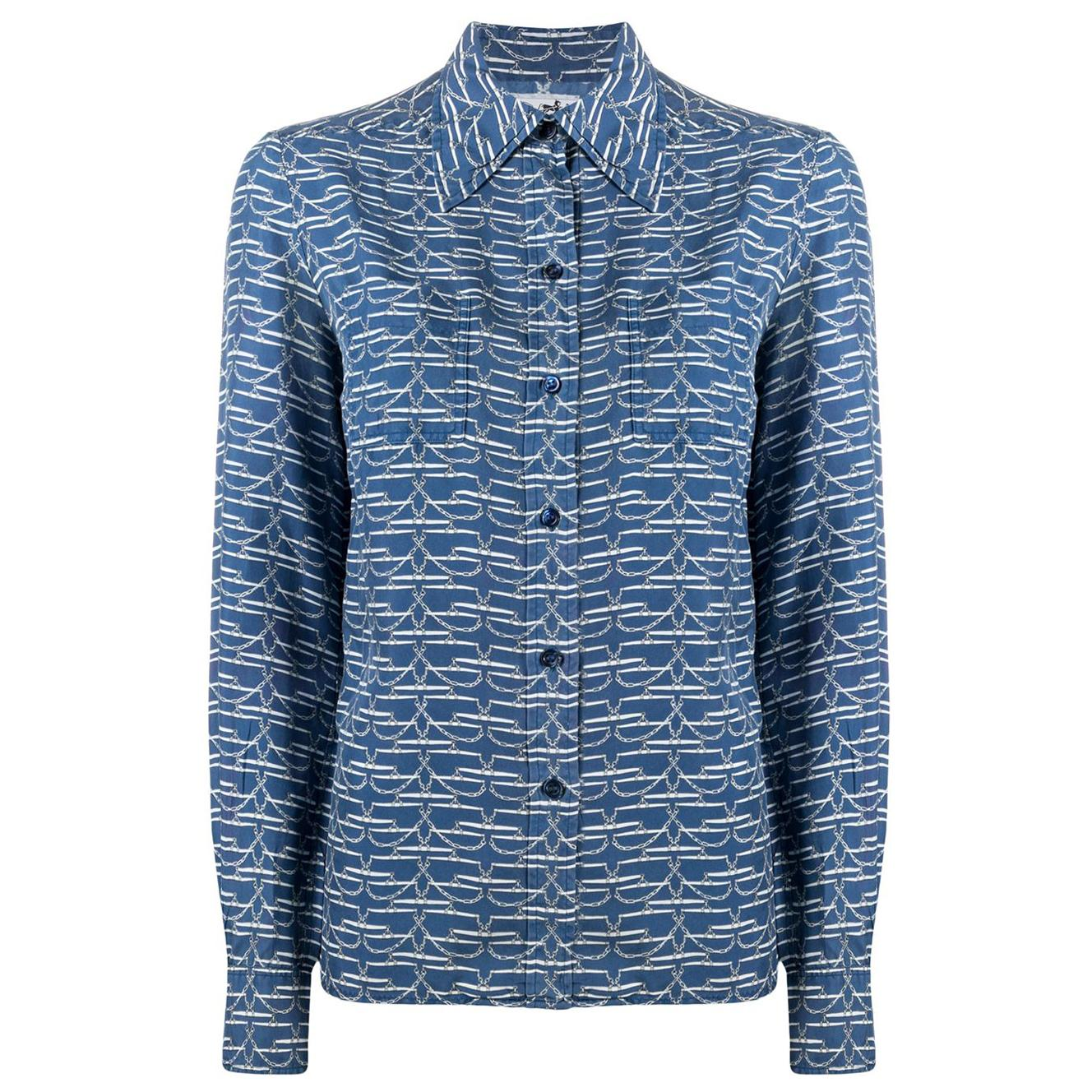 Hermes Blue Chain Print Silk Shirt