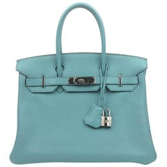 Hermès Blue Ciel 30 cm Birkin Bag with Palladium