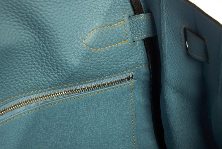 Hermes Blue Ciel Kelly 35 Togo Palladium Bag For Sale 5