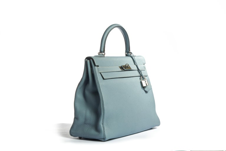 Hermes kelly 35cm blue ciel togo leather and palladium hardware in excellent condition. Handle drop 3.5