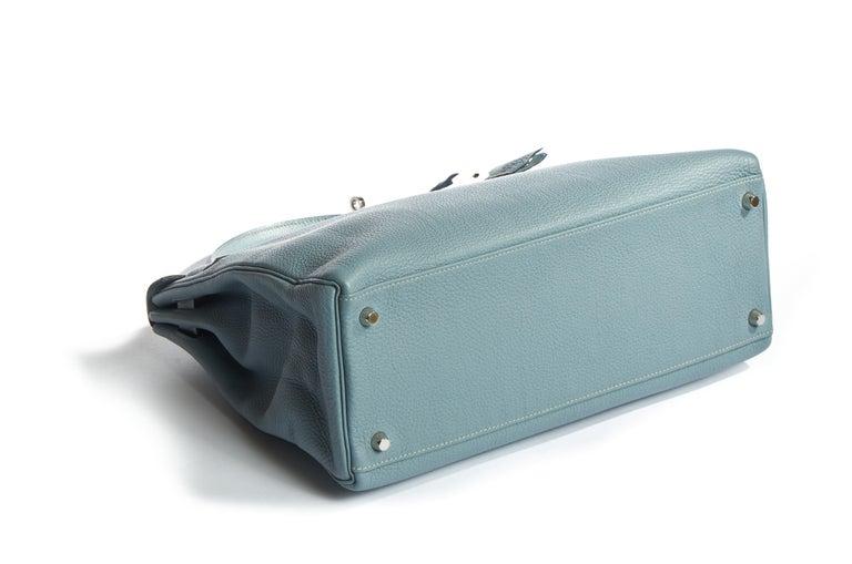 Gray Hermes Blue Ciel Kelly 35 Togo Palladium Bag For Sale