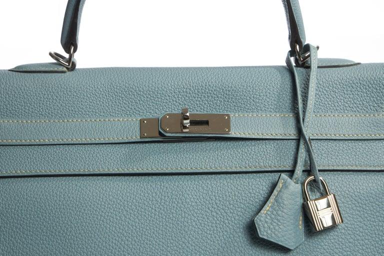 Women's Hermes Blue Ciel Kelly 35 Togo Palladium Bag For Sale