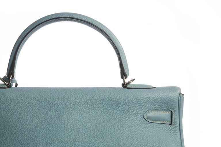 Hermes Blue Ciel Kelly 35 Togo Palladium Bag For Sale 1