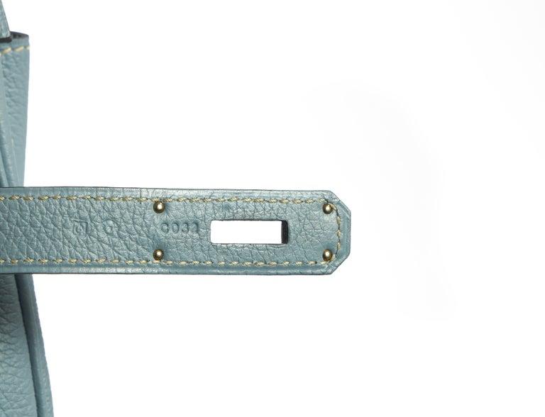 Hermes Blue Ciel Kelly 35 Togo Palladium Bag For Sale 2