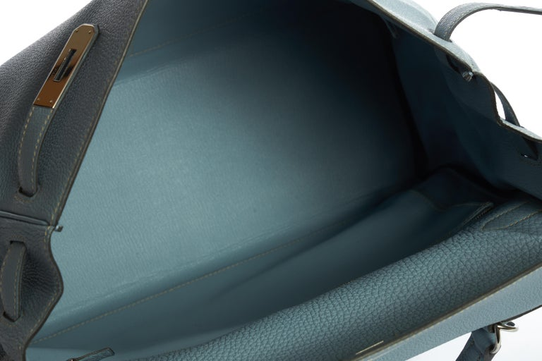 Hermes Blue Ciel Kelly 35 Togo Palladium Bag For Sale 3