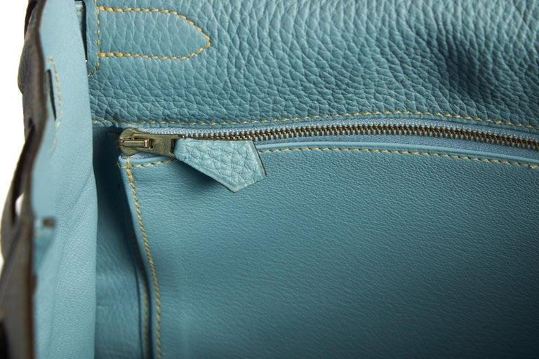 Hermes Blue Ciel Kelly 35 Togo Palladium Bag For Sale 4