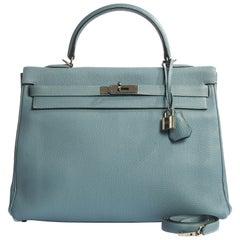 Hermes Blue Ciel Kelly 35 Togo Palladium Bag