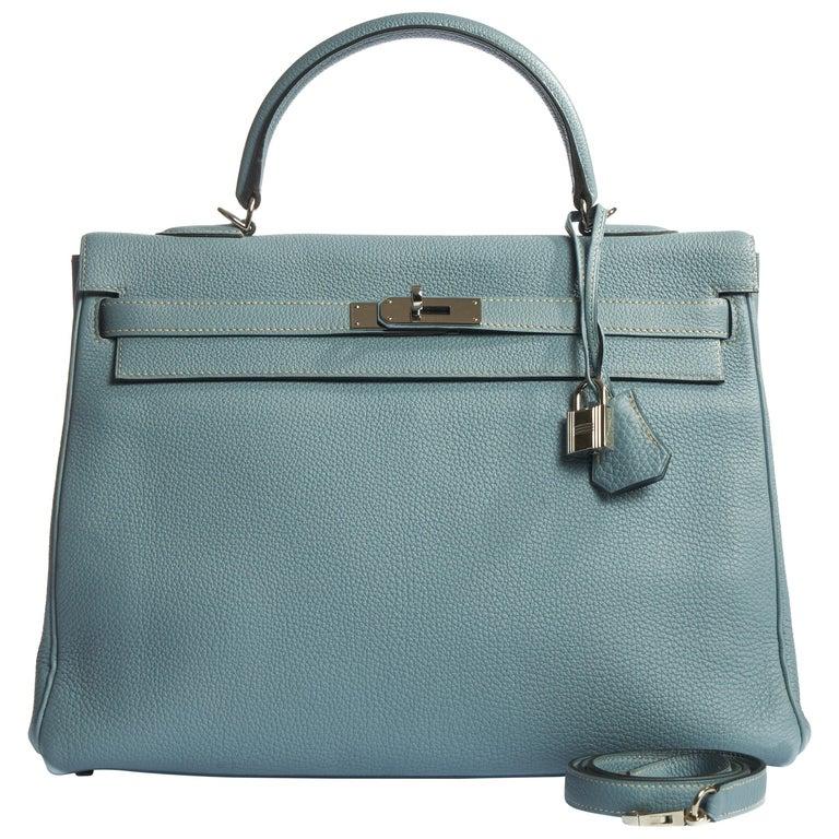Hermes Blue Ciel Kelly 35 Togo Palladium Bag For Sale