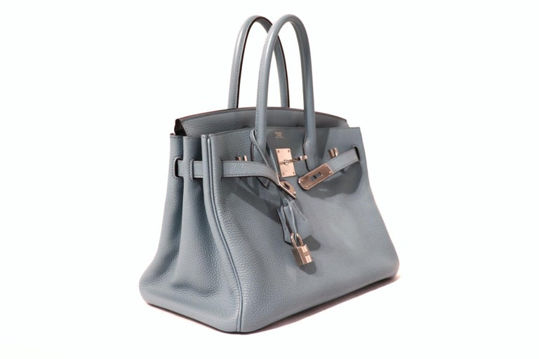 Gray Hermès Blue Ciel Togo 30 cm Birkin Bag