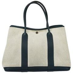 HERMES Blue Clemence Garden Party Bag