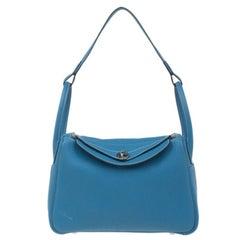 Hermes Blaue Clemence Leder Lindy Tasche 30