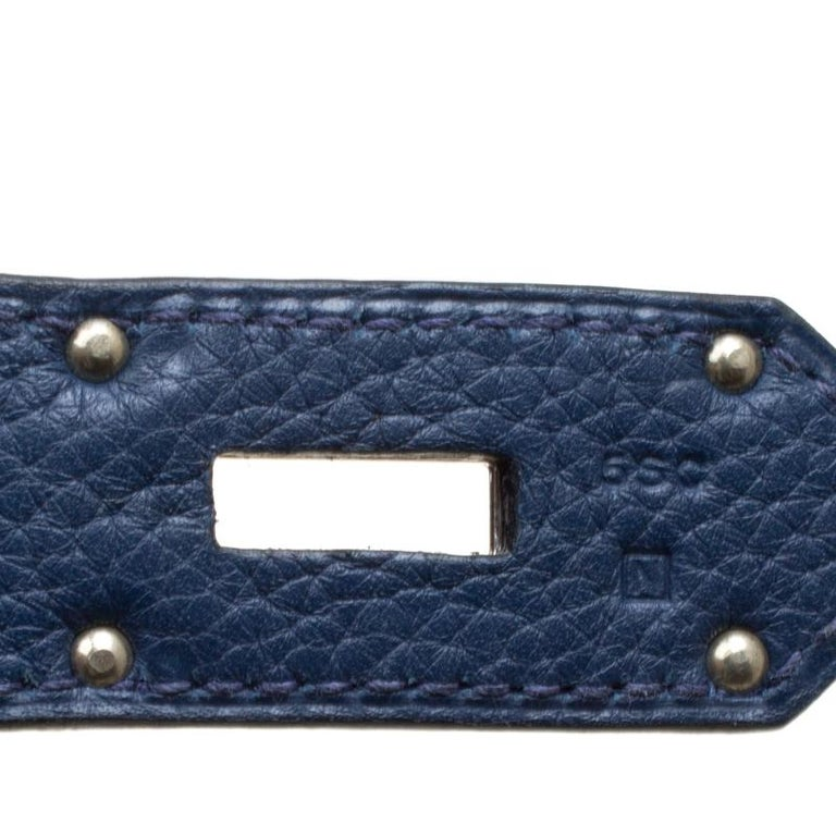 Hermes Blue De Presse Clemence Leather Palladium Hardware HAC Birkin 50 Bag For Sale 6