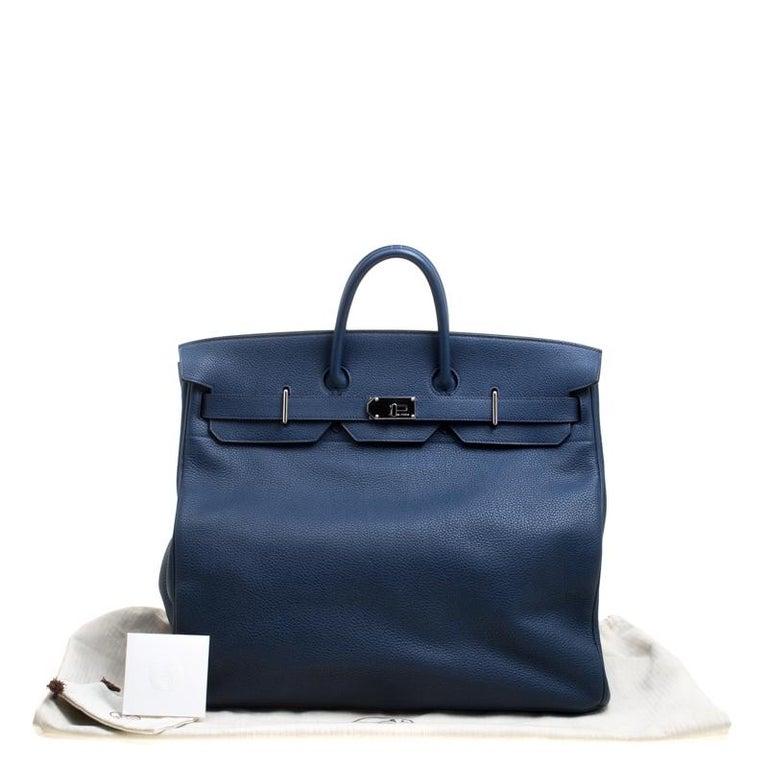 Hermes Blue De Presse Clemence Leather Palladium Hardware HAC Birkin 50 Bag For Sale 7