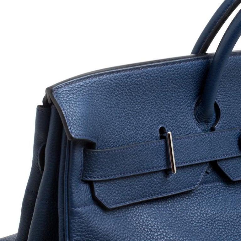 Hermes Blue De Presse Clemence Leather Palladium Hardware HAC Birkin 50 Bag For Sale 8