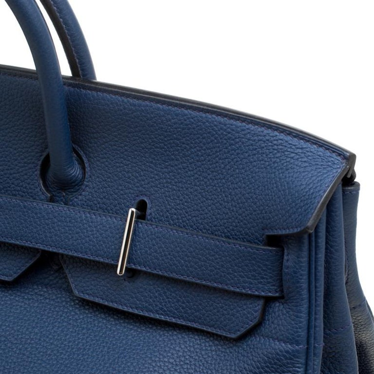 Hermes Blue De Presse Clemence Leather Palladium Hardware HAC Birkin 50 Bag For Sale 9