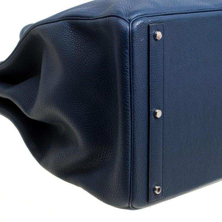 Hermes Blue De Presse Clemence Leather Palladium Hardware HAC Birkin 50 Bag For Sale 10