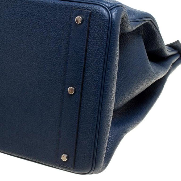 Hermes Blue De Presse Clemence Leather Palladium Hardware HAC Birkin 50 Bag For Sale 11