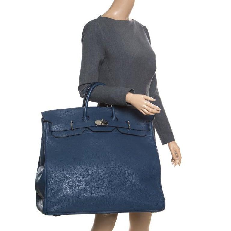 Hermes Blue De Presse Clemence Leather Palladium Hardware HAC Birkin 50 Bag In Excellent Condition For Sale In Dubai, AE