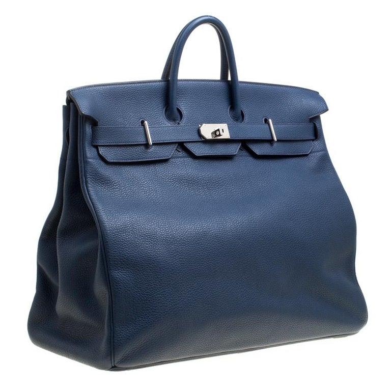 Women's Hermes Blue De Presse Clemence Leather Palladium Hardware HAC Birkin 50 Bag For Sale