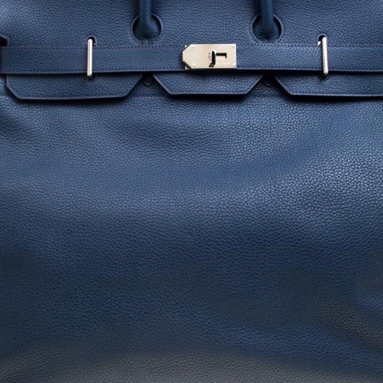 Hermes Blue De Presse Clemence Leather Palladium Hardware HAC Birkin 50 Bag For Sale 1