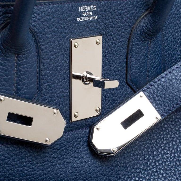 Hermes Blue De Presse Clemence Leather Palladium Hardware HAC Birkin 50 Bag For Sale 2
