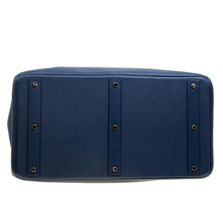 Hermes Blue De Presse Clemence Leather Palladium Hardware HAC Birkin 50 Bag For Sale 3