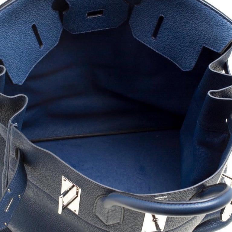 Hermes Blue De Presse Clemence Leather Palladium Hardware HAC Birkin 50 Bag For Sale 4