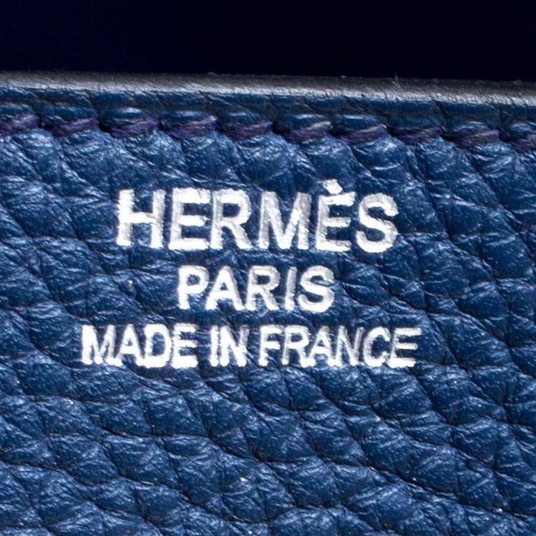 Hermes Blue De Presse Clemence Leather Palladium Hardware HAC Birkin 50 Bag For Sale 5