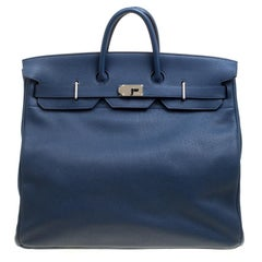Hermes Blue De Presse Clemence Leather Palladium Hardware HAC Birkin 50 Bag